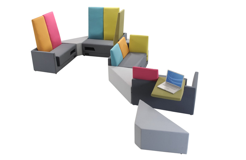 Derived from the concept of playground where an atmosphere of fun, enjoyment, getting together and comfort seating in the air, this sectional seating systems accommodate your space in numerous, creative ways. BRACCA offers flexibility, possibility and options where users can create their combination with its extreme versatility.