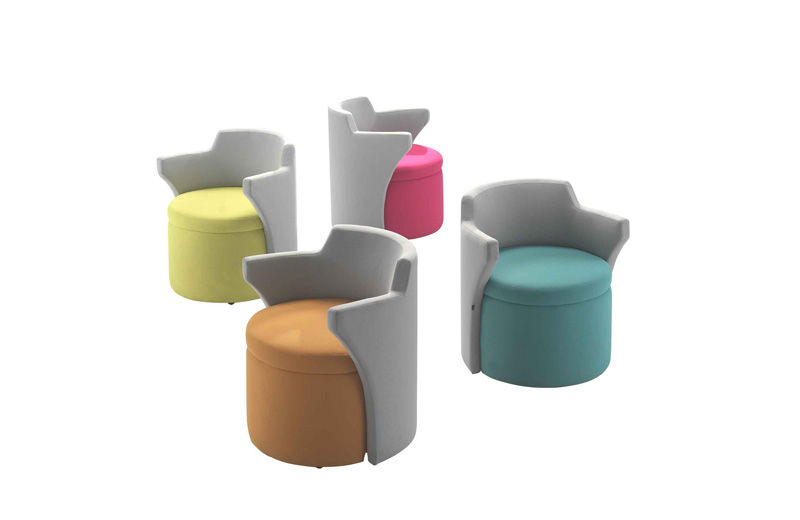 Kissara is a lounge chair that accommodates a variety of positive postures. Take a seat for longer meetings, sit upright or even move around to let your creative juice flow! Upholster the seat and sides in 2 different color to create a unique aesthetic!